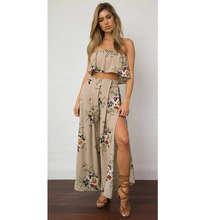 ea003980e848 Women Chiffon 2 Two Piece Set Strapless Crop Top And Wide Leg Pants Set  Floral Print High Waist Split Beach Boho Suits Set 2019