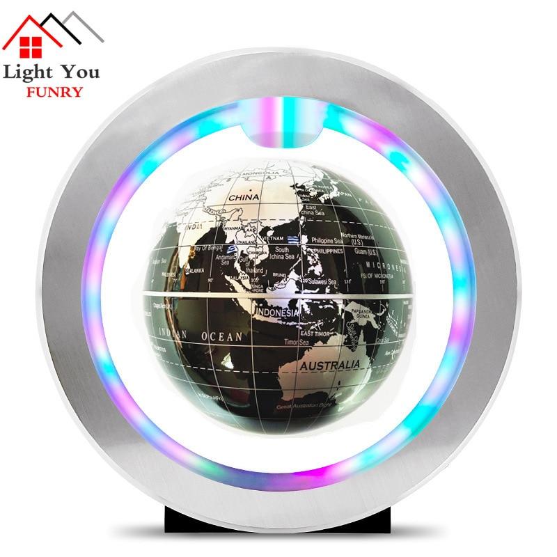 Seven Color Lamp Magnetic Levitation Floating Globe World Map Anti-gravity Earth Globe LED Light Home Decoration Birthday Gift