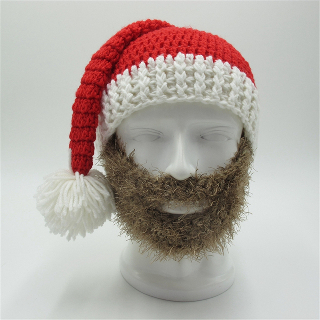 aa19b5ef8ea Xmas Hats With Colourful Beard Face Mask Christmas Present Party skull  Beanies Winter Crocheted Men s Toca