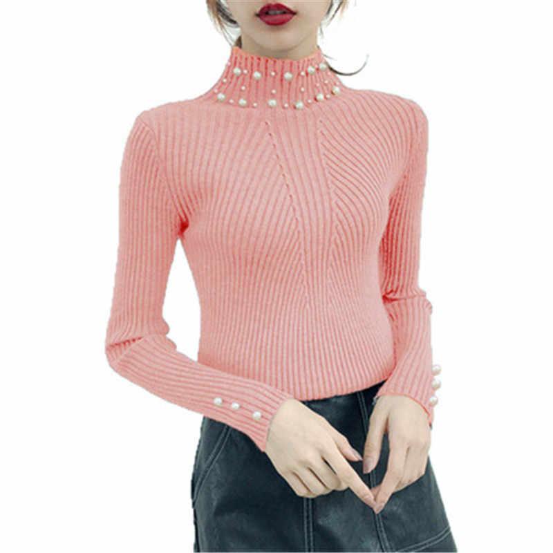 Новинка 2018, осенне-зимний женский свитер с жемчужинами и бусинами, невысокая горловина, длинный рукав, тонкие вязаные длинные свитера Mujer