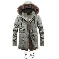 2018 Fashion Winter Jacket Men Long Coat Faux Fur Collar Outwear Thick Warm Parka Men Military Cargo Cloth Casual Jacket Hombre