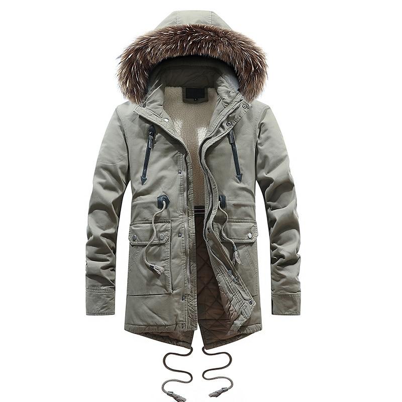 2018 Mode D'hiver Veste Hommes Long Manteau Col En Fausse Fourrure Outwear Épais Chaud Parka Hommes Cargo Militaire Tissu Veste Décontractée hombre