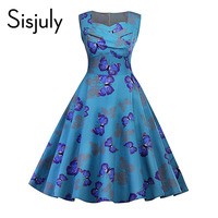 Sisjuly Vintage Women Dress Print Butterfly Mid Calf Sleeveless A Line Party Dress Summer Spring Vintage