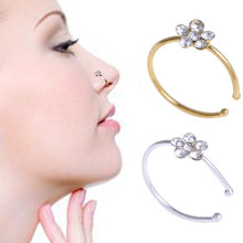 Unisex Rhinestone Flower Fake Hoop Nose Ring Sparkly Nostril Hoop Ear Hoop Ring Body Jewelry For Party(China)