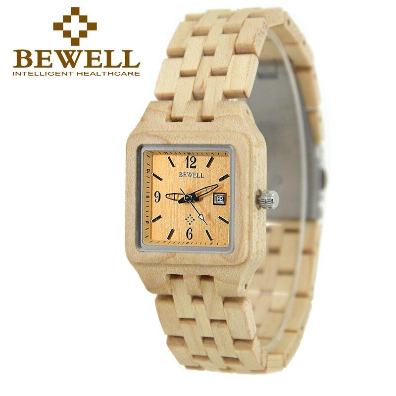 BEWELL Топ Элитный бренд женские кварцевые деревянные часы календарь Дисплей квадратный корпус наручные женские часы подарок с коробкой 130A