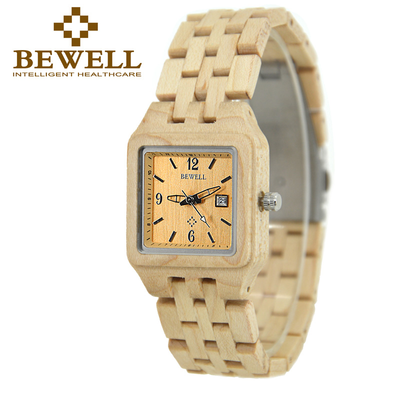 BEWELL Top Luxury Brand Woman Quartz Wooden Watches Calendar Display Square Case Wristwatch Ladies Gift with Box 130A  цена