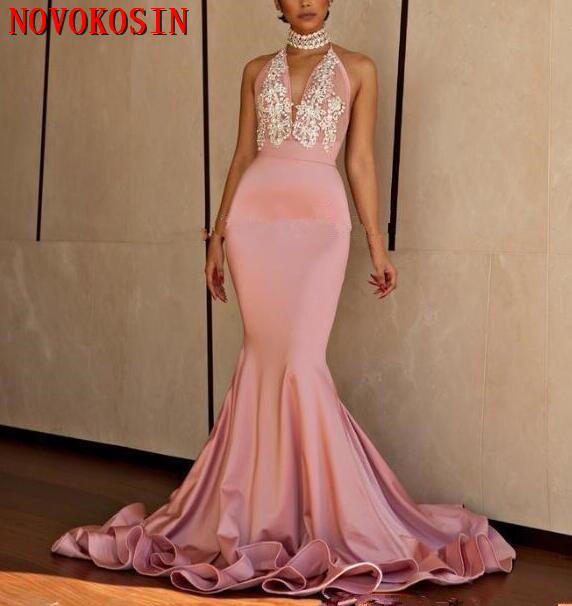2019 Backless Halter Court Train Deep V Neck Appliques Beads Formal Evening Party Gowns Mermaid Prom Dresses vestidos de fiesta in Evening Dresses from Weddings Events