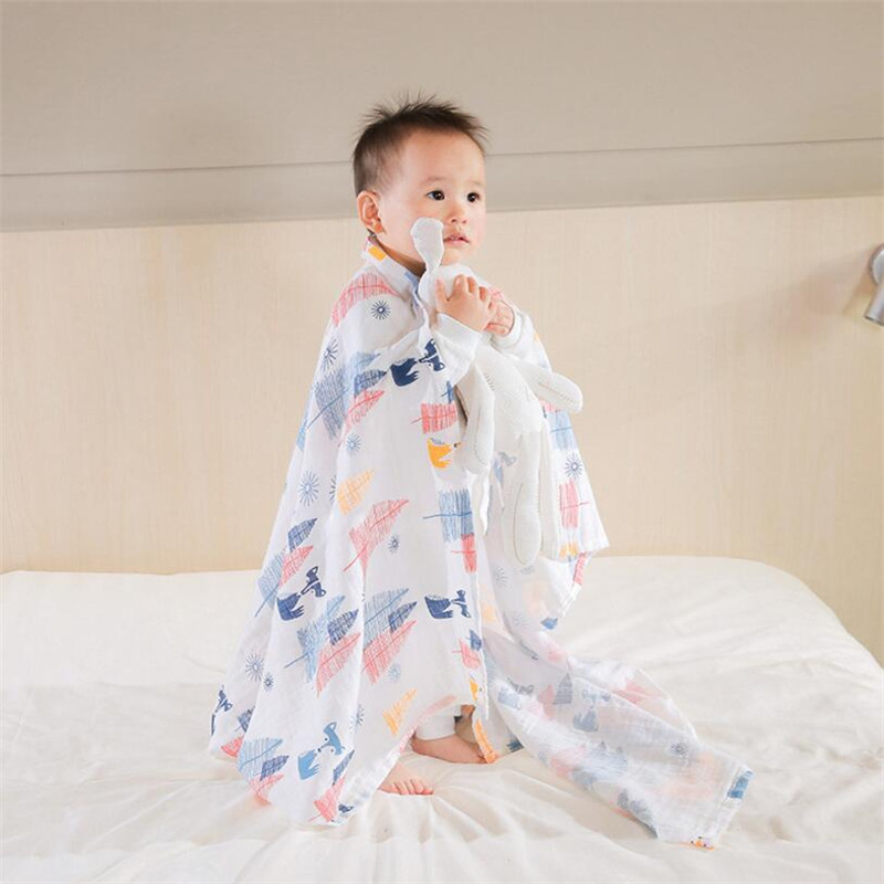 Bedding Fox 1PC Soft 100% Muslin Cotton swaddle Baby Blanket Sleeping Blanket 110*110CM Security Blankets