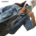 Vintage Denim Jacket for Women Personalized Wild Outerwear BF Style Pocket Jeans Jacket Fashion 2017 Spring Plus Size Solid Coat