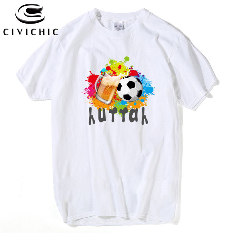 CIVICHIC New Soccer Cup 2018 T shirt Women Men Foot ball Beer Print Tees Plus Size Cotton Tops Huttah O Neck Loose T-Shirt MST02
