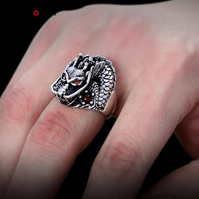 Authentic 925 Sterling Silver Dragon Rings For Men With Garnet Natrual Stone Red Eyes Vintage Punk Rock Mens Fine Jewelry 1