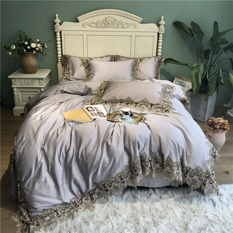 1000TC Egyptian Cotton Gray Lace Luxury Bedding Set QUEEN KING size Duvet Cover Bed set Silky Bed sheet parure linge de lit  1000TC Egyptian Cotton Gray Lace Luxury Bedding Set QUEEN KING size Duvet Cover Bed set Silky Bed sheet parure linge de lit