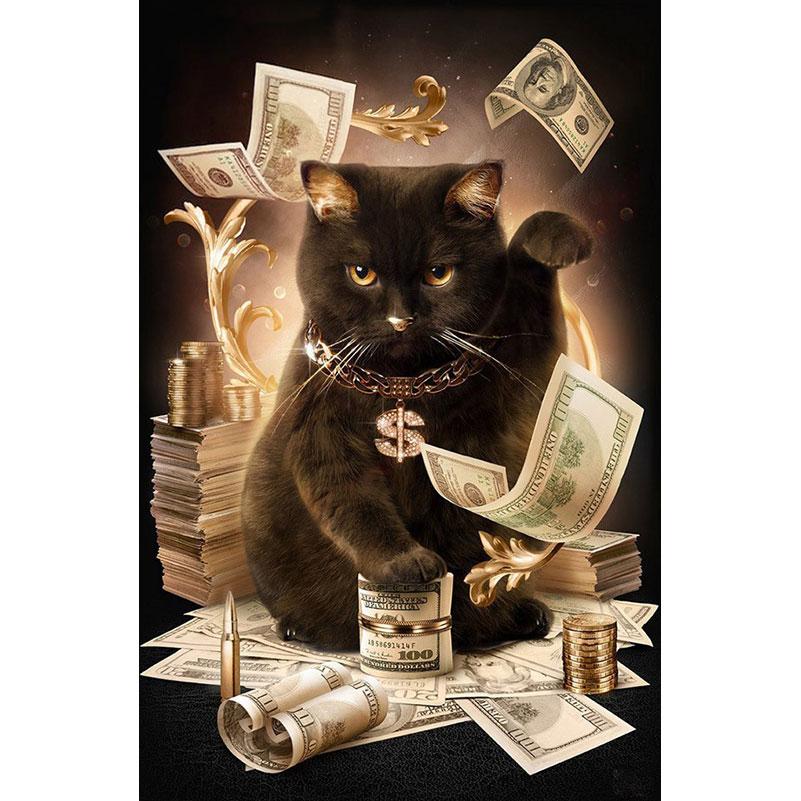 Diamond Embroidery Cat With Cash Pattern DIY Needlework 5D Diamond Painting Cross Stitch Full Drill Rhinestones Painting sticker