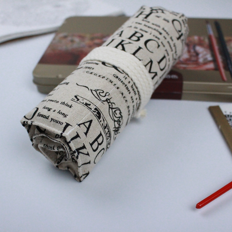 все цены на English Newspapers Canvas Pencil Case 36/48/72 Holes Roll School Pencil Bag material escolar School Supplies estuche escolar