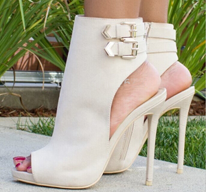 Spring New Fashion Women Open Toe Suede Leather Cut-out High Heel Ankle Boots Buckle Design Gladiator Boots Sandal Boots army green gold buckle side zipper high heel ankle boots women open toe fashion gladiator sandal boot womans