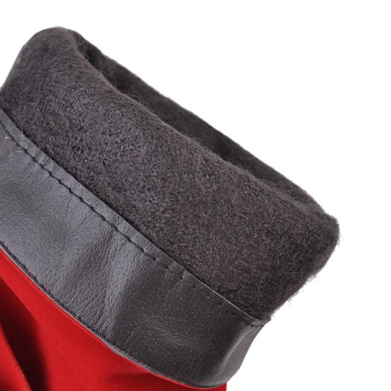 Pour Fourrure Razamaza Mode forme Femmes Bowknot Taille Talons rouge Chaud 33 Courtes 43 Plate À Bottes Moitié De Hauts Noir Chaussures Hiver f0gfwPq