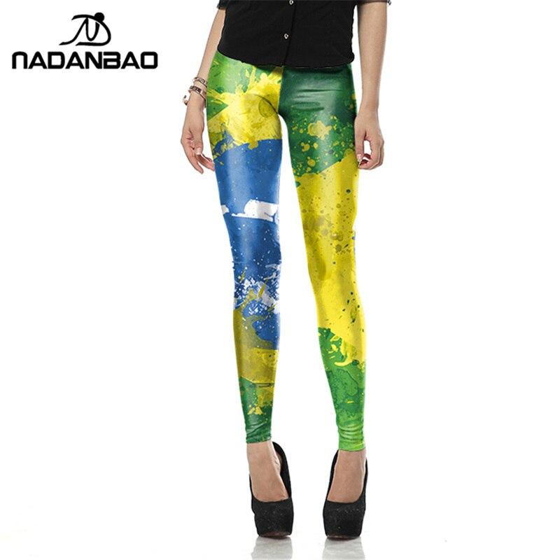NADANBAO Fashion Spring Summer Legging Personality Painting Legins Brazil Flag Leggins Print Women Leggings Sexy Woman Pants