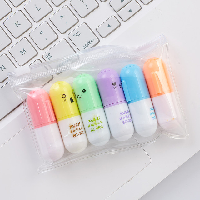 6 Pcs Cute Capsule Highlighter Pen Mini Pill Color Marker Spot Point Liner Stationery Office Material School Supplies F869