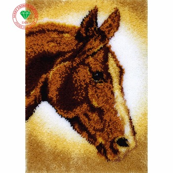 Free Shipping DIY Unfinished Crocheting Yarn Mat Latch Hook Rug Kit Floor Mat Horse Picture Carpet Set tapestry big Size 85x65cm