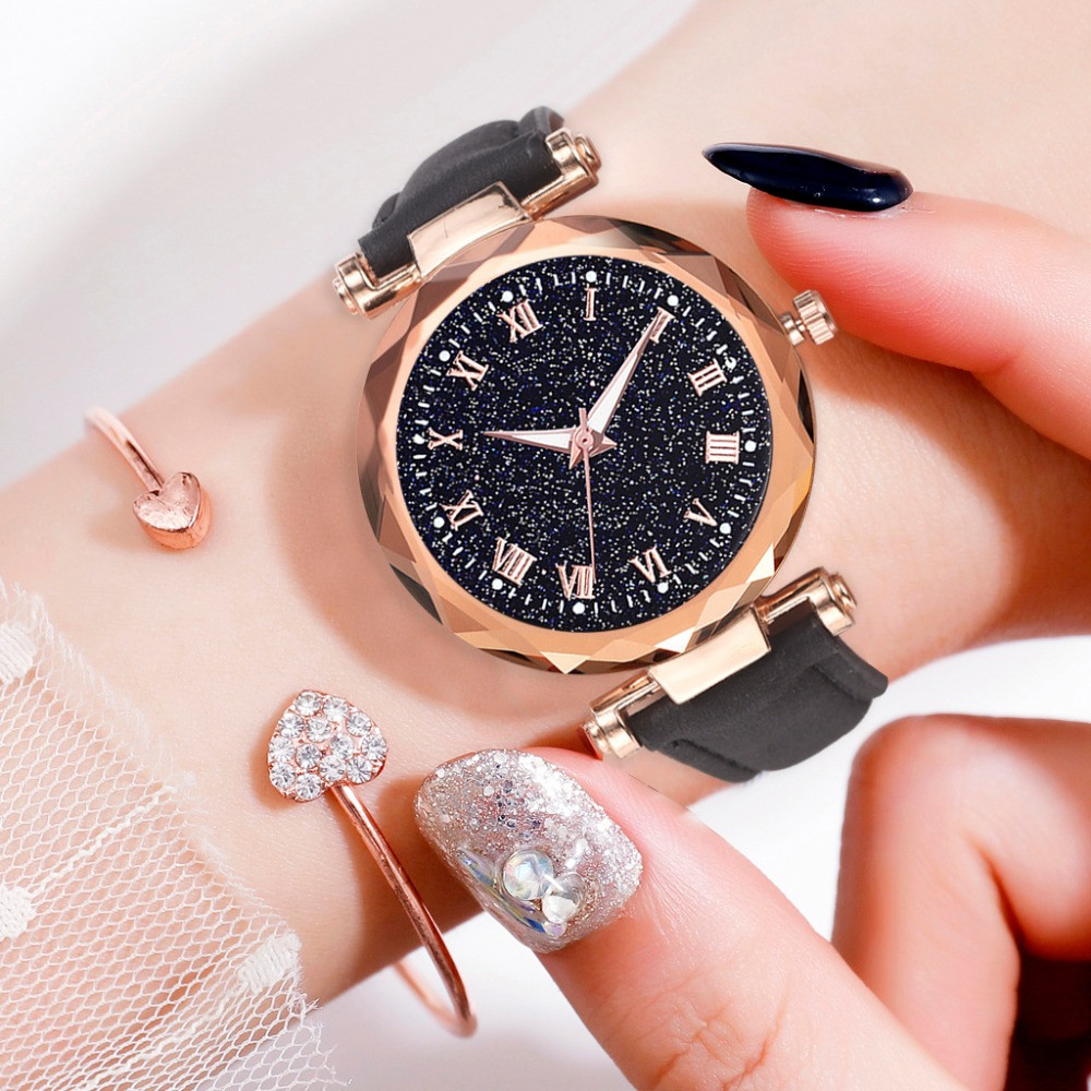 Fashion Women 's Leather Band Luxury Watches Women Dress Bracelet Watch Fashion 2019 Analog Quartz Diamond Wrist Watch Clock