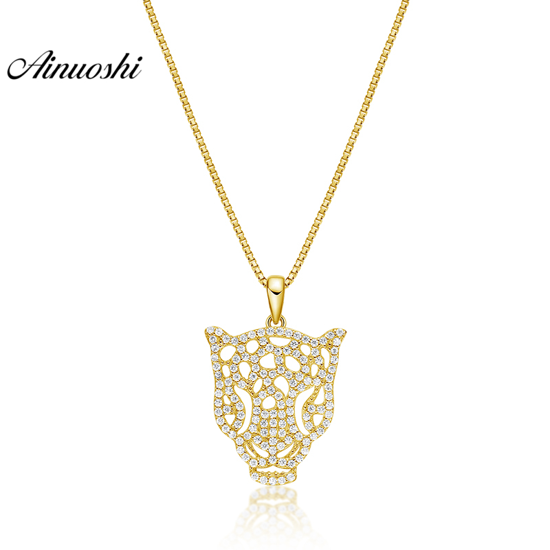 AINUOSHI 10K Solid Yellow Gold Pendant Tiger Head Pendant SONA Diamond Women Men Jewelry Delicate Animal 2.8g Separate Pendant
