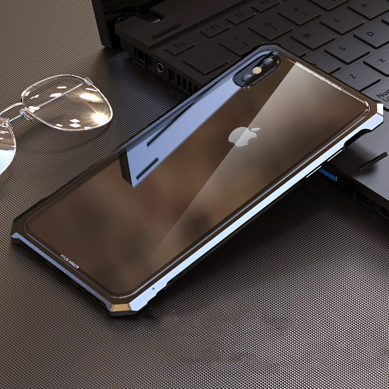 High end ultra thin metal frame Tempered glass mirror shell For  Iphone XS case cover FOR XS MAX FOR XR metal caseFitted Cases   -