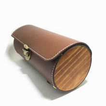 Q400 Free shipping Bicycle Retro Tail Bag Cylindrical Saddle Bags Leather Boots Front Handbag Pack