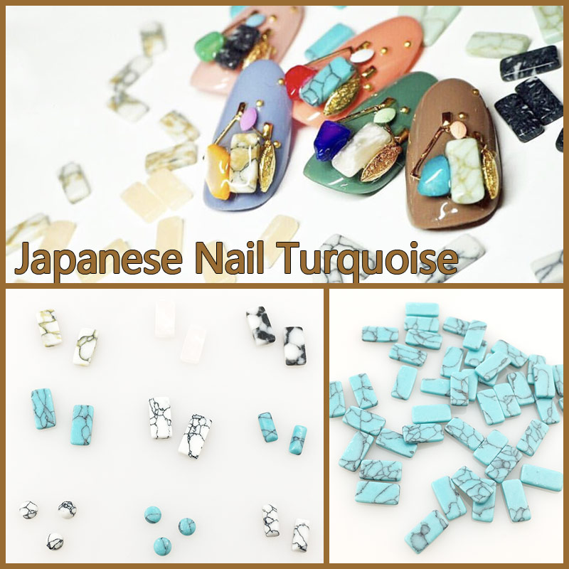 3d acrylic turquoise pattern rectangle round nail art for Acrylic nail decoration supplies