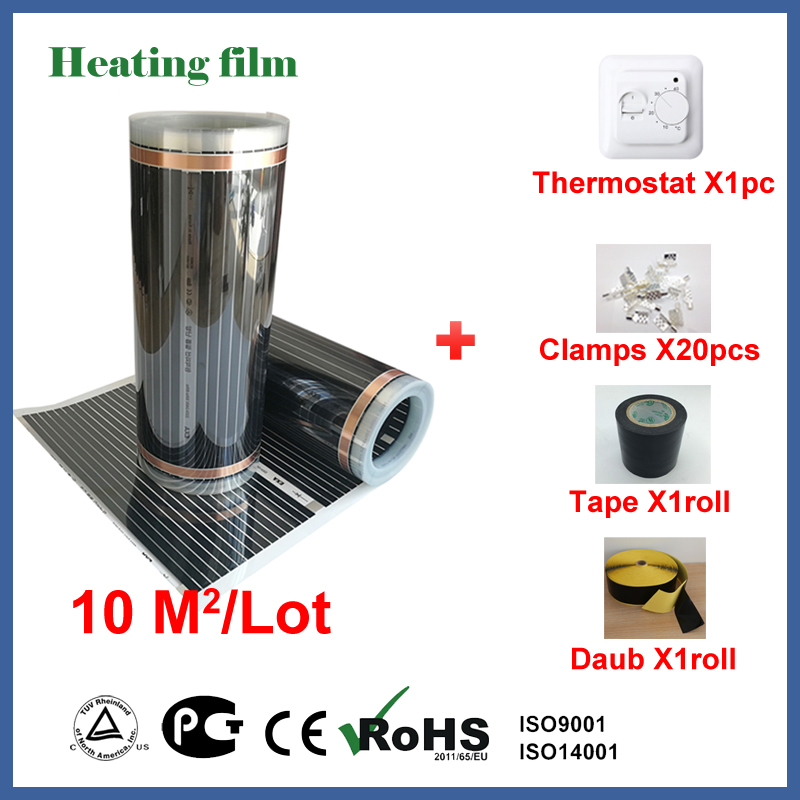 TF Far infrared floor heating film 10 square meters, 220V carbon fiber floor heating film with termostat and cable sensor free to norway 50m2 ptc carbon heating film 220v 110w best for under floor heating systems self regulating far infrared film