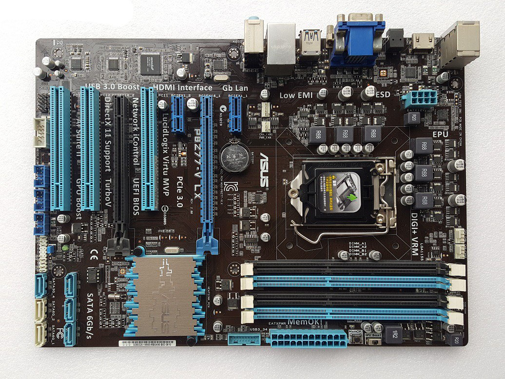 Used, ASUS Motherboard P8Z77-V LX LGA 1155 DDR3 I3 I5 22/32nm CPU USB3.0 32GB SATA3 VGA HDMI Z77 Desktop Motherboard