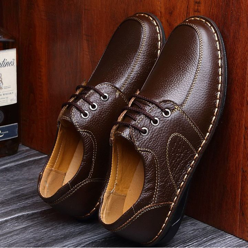 Hot Sale Genuine Leather Men Flats Shoes Hand Sewing Men Oxfords Zapatos Hombres Trendy Men Leather Shoes Black Brown