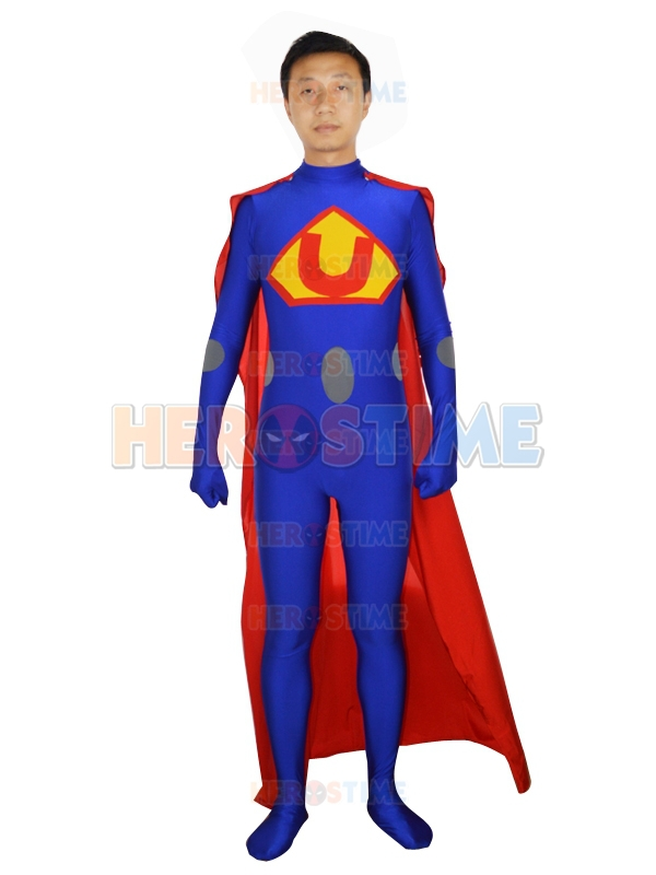 Superhero Strong Superman Style Blue Costume the most classic halloween cosplay spandex Superman costume zentai suit