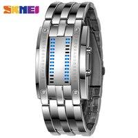 2015 SKMEI Tungsten Steel Watches Men Binary LED Watch Sport Clock Outdoor Fashion Watch Calendar Luxury