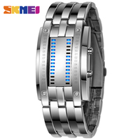 2015 SKMEI Tungsten Steel Watches Men Binary LED Watch Sport Clock Outdoor Fashion Watch Calendar Luxury