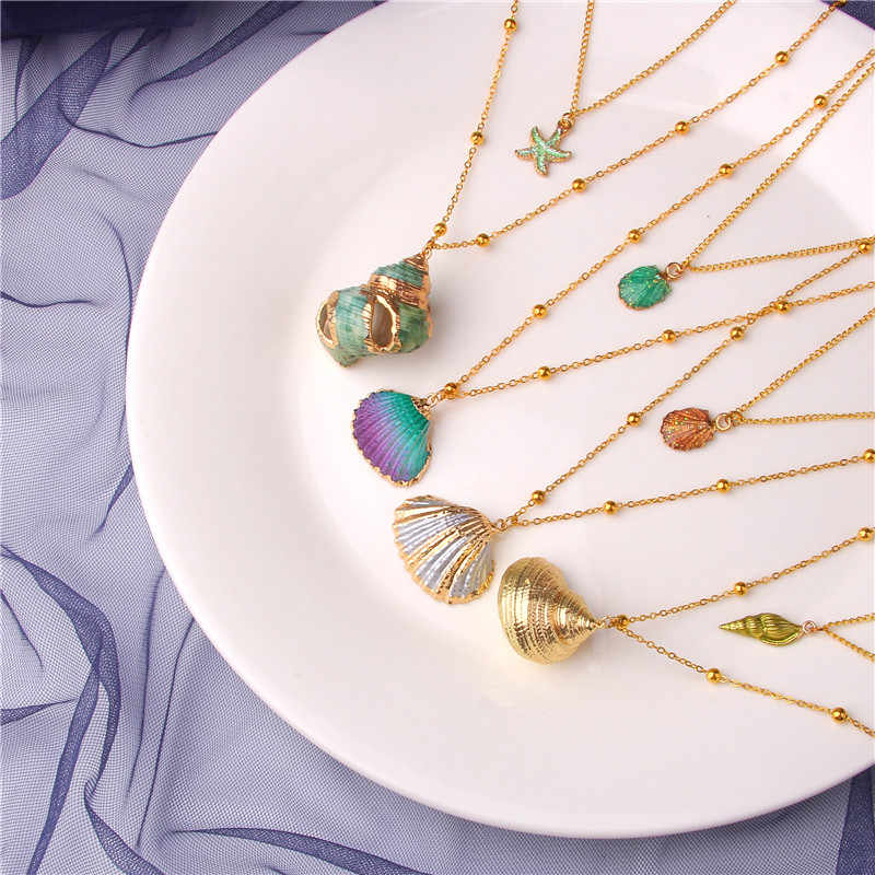 2019 Bohemia Boho SeaShell Shell Starfish Necklace Cowrie Gold Hawaii Summer Necklace Woman Femme Beach Jewelry Cowrie Girl Gift