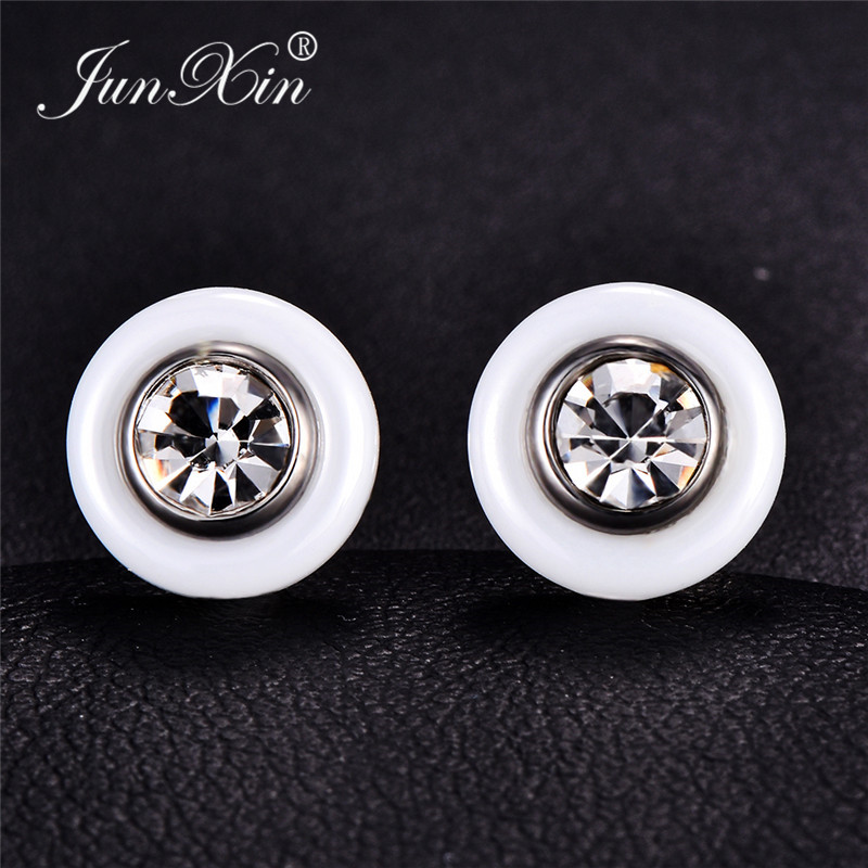 JUNXIN Titanium Steel Black White Ceramic Stud Earrings For Men Women Round Clear Zircon Crystal Earrings Male Stainless Steel
