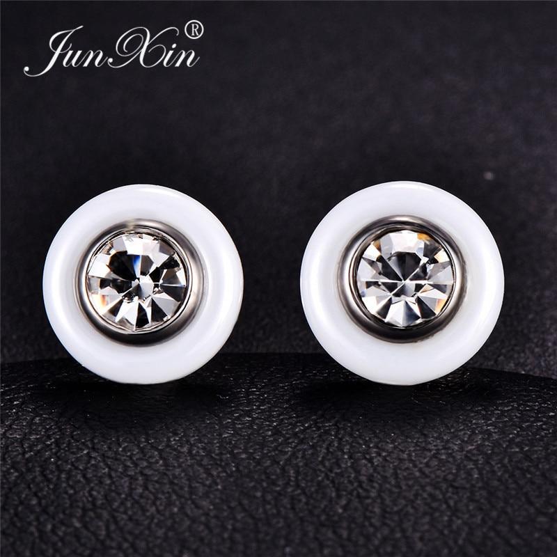 JUNXIN Titanium Steel Black White Ceramic Stud Earrings For Men Women Round Clear Zircon Crystal Earrings Male Stainless Steel