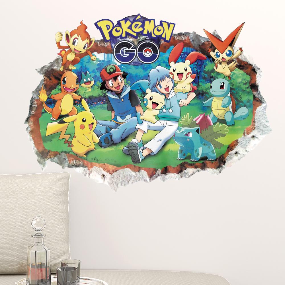 pikachu pokemon ir juego rompi con tatuajes de pared de vinilo etiqueta de la pared anime