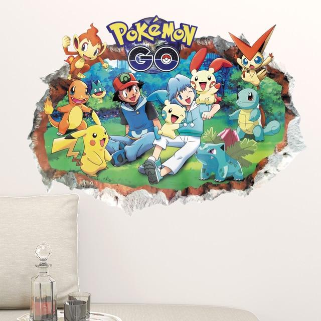 Pokemon Gehen Pikachu Spiel Wandaufkleber Nette Anime 3d Zerschlagen  Wandtattoo Vinyl Für Kinder Dekoration Baby Kindergarten