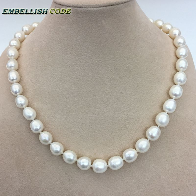 d286559b34bfb US $18.5 |low price 9 10mm white pearl necklace bracelet earring set real  natural Cultured Freshwater pearl teardrop shape Classic women-in Jewelry  ...