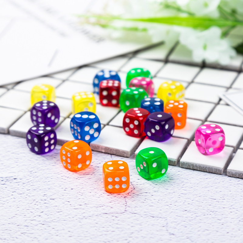 10PCS/set Portable Table Games Dice 6 Sided Acrylic Round Corner Board Game Dice Digital Dices Party Gambling Game Cubes 14mm