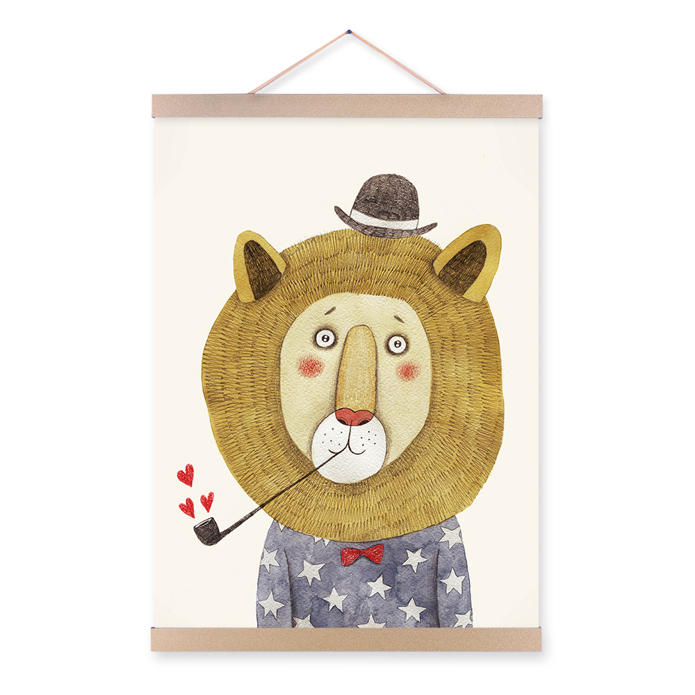 Modern Watercolor Animals Lion Bear Panda A4 Poster Print