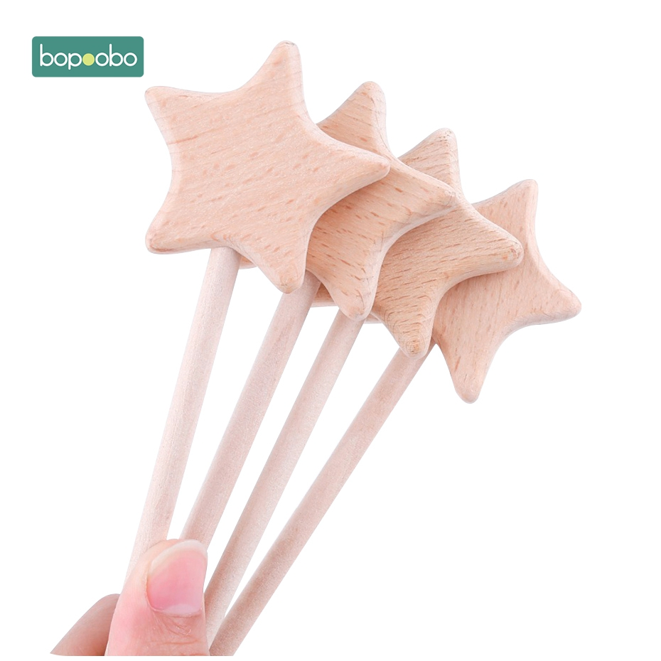 Bopoobo Baby Toys 2pcs Beech Wooden Star Teething Montessori Toys Waldorf Toy Baby Wooden Baby Teething Play Gym Baby Rattle