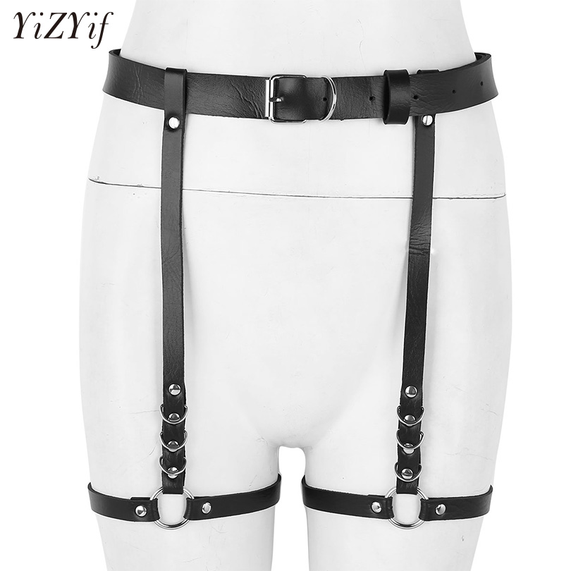 YiZYiF Sexy Women Punk Harness Garter Bondage Belt Adjustable Waist Leg Cage Belt Fashion Punk Rave Faux Leather Suspenders