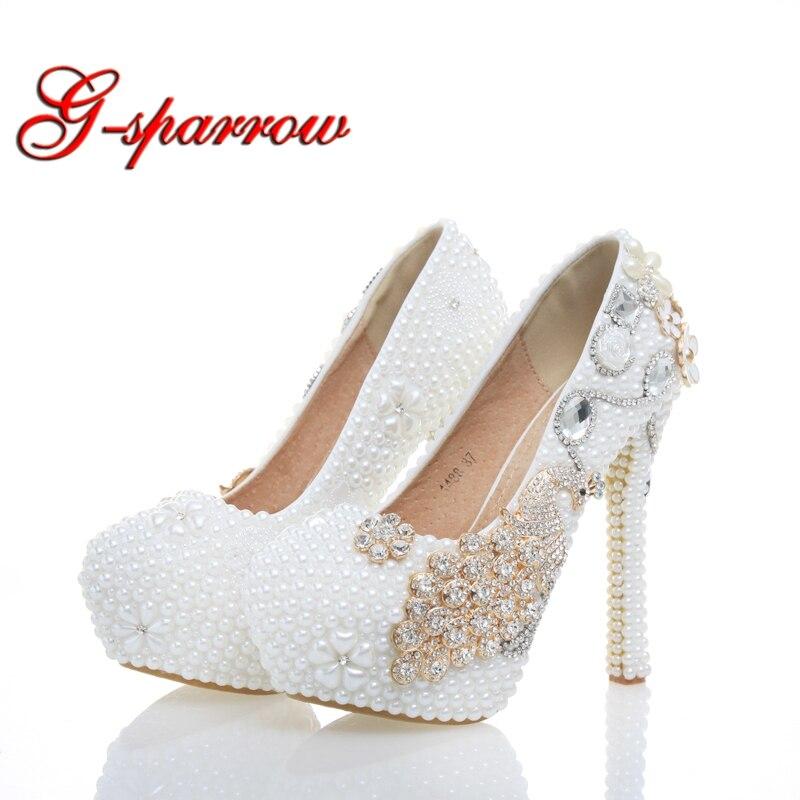 Fashion White Pearls Flower Rhinestone Wedding 14cm High Heels Phoenix Decoration Handmake Delicate Stiletto Gorgeous Nightclub chunfeng handmake dimaond cubezd002150