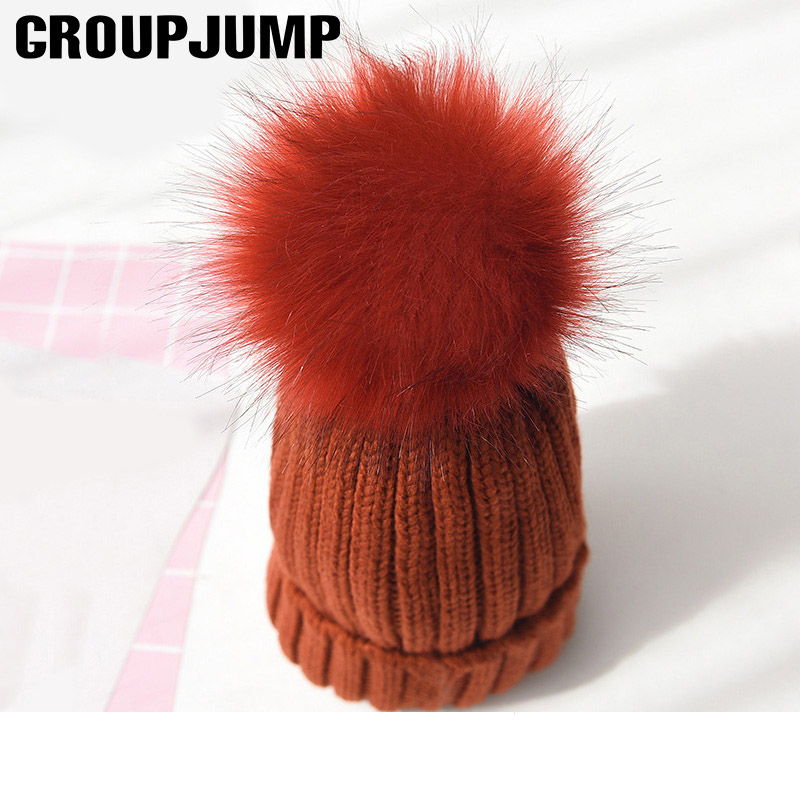 GROUP JUMP 2018 New Winter Hat For Women Fashion Fluffy Fur Ball Knitted Pom  Poms Hat 4cd89cc18