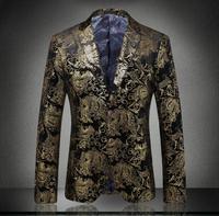 2018 새로운 패션 남성 드레스 꽃 정장 노치 옷깃 슬림 세련된 재킷 골드 정장 코트 르 의상 des 병력