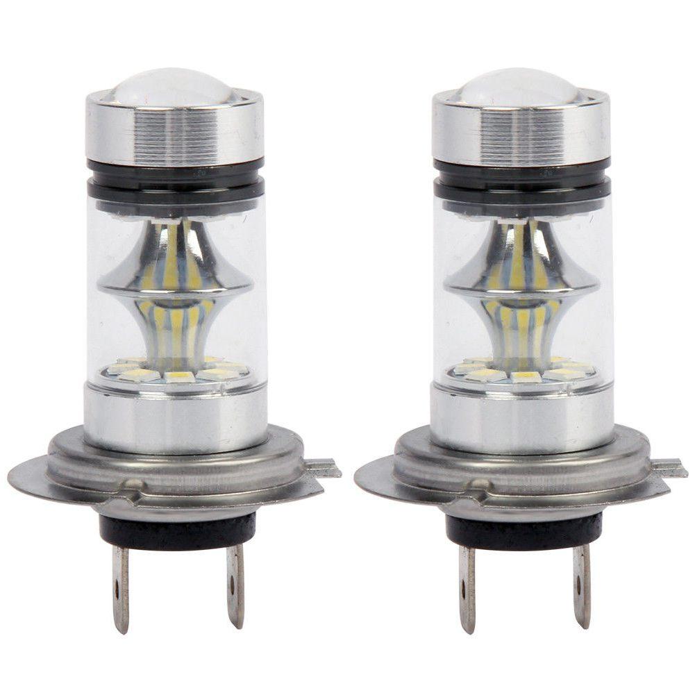 1 Pair High Power LED H7 Bulb 100W 20LED Car Fog Light Lamp Headlights 6000K White
