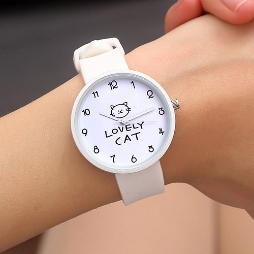 Silicone Watch Women Watches Ladies Fashion Lovely Cat Style Quartz Wrist Watches For Women Clock Female Wristwatch Montre Femme