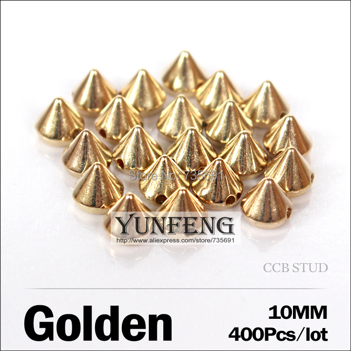 Sale Spikes Rivets For Leather 10mm 400pcs/lot Golden Stud Ccb Plastic Rivets Sew On Accessories Use Clothes Shoes Bags